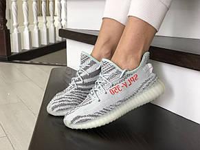 Модные женские кроссовки (в стиле) Adidas x Yeezy Boost,серые с мятным, фото 2
