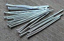 Гвоздик пин бижутерный 2.6 см цвет Серебро, 1 уп - 100 шт
