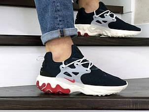 Мужские кроссовки (в стиле) Nike air presto React,текстиль,темно синие с бежевым, фото 2