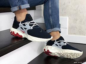 Мужские кроссовки (в стиле) Nike air presto React,текстиль,темно синие с бежевым, фото 3