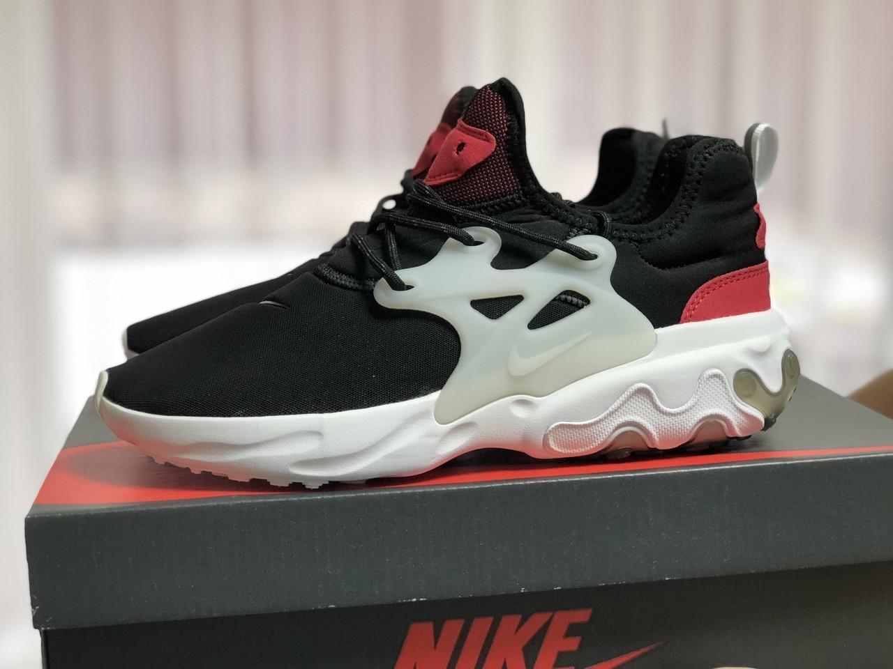 Мужские кроссовки (в стиле) Nike air presto React,текстиль,черно белые с красным