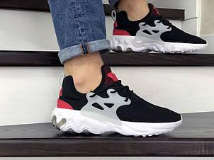 Мужские кроссовки (в стиле) Nike air presto React,текстиль,черно белые с красным, фото 2