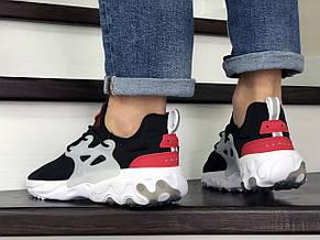 Мужские кроссовки (в стиле) Nike air presto React,текстиль,черно белые с красным, фото 3