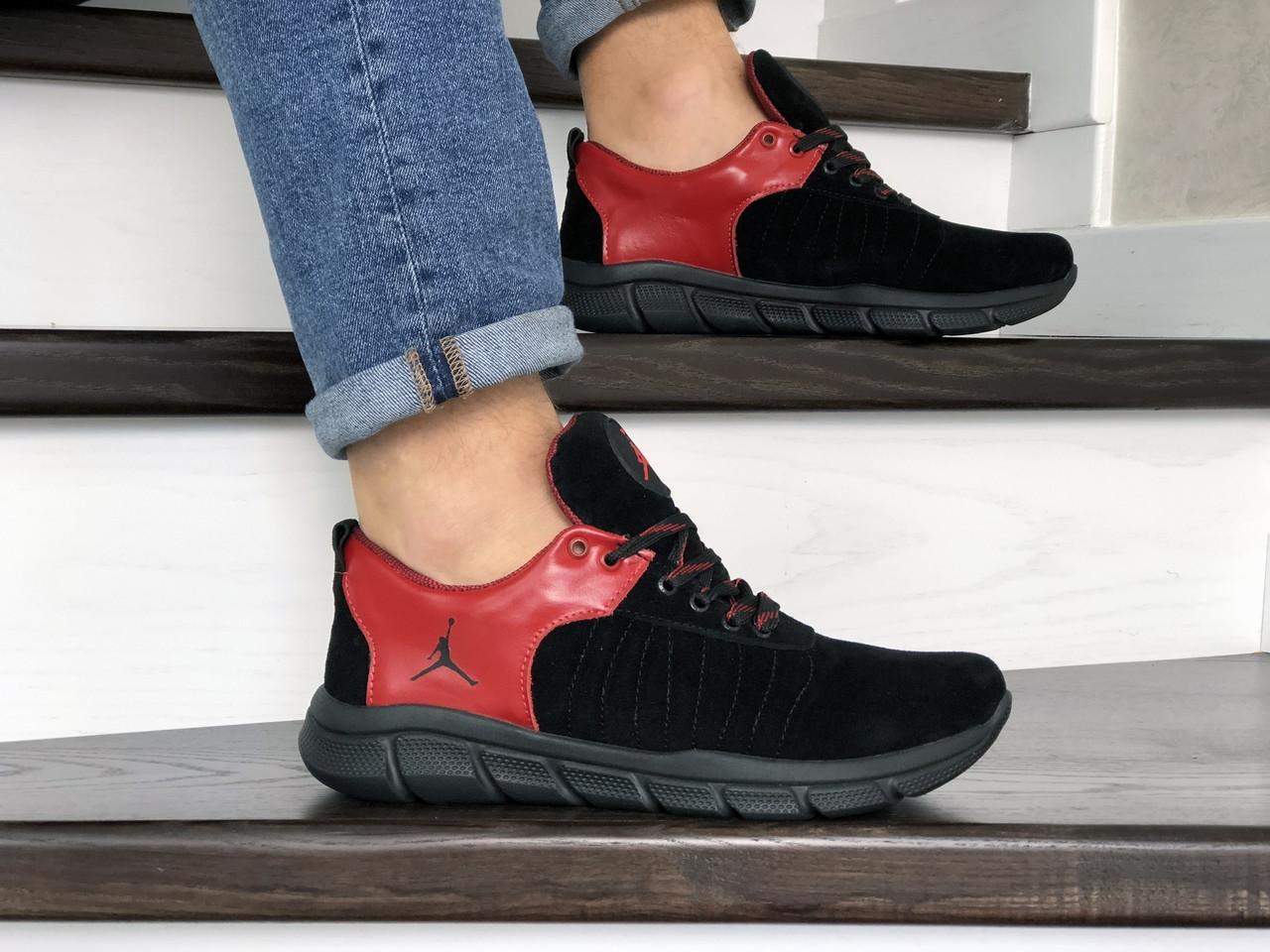 Мужские модные кроссовки (в стиле) Nike Air Jordan,кожаные,черные с красным