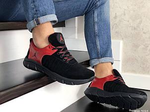 Мужские модные кроссовки (в стиле) Nike Air Jordan,кожаные,черные с красным, фото 2