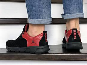 Мужские модные кроссовки (в стиле) Nike Air Jordan,кожаные,черные с красным, фото 3