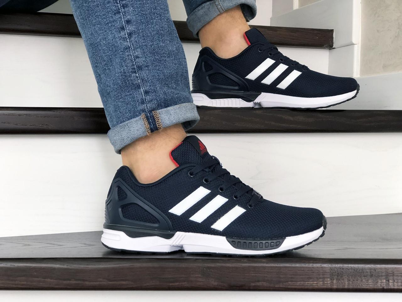 Мужские демисезонные кроссовки (в стиле) Adidas ZX Flux,темно синие с белым