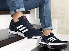 Мужские демисезонные кроссовки (в стиле) Adidas ZX Flux,темно синие с белым, фото 2