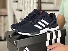 Мужские демисезонные кроссовки (в стиле) Adidas ZX Flux,темно синие с белым, фото 3