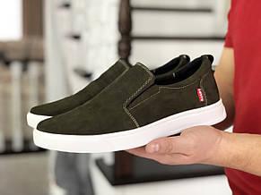 Стильные мужские кожаные мокасины (туфли) Levis,темно зеленые, фото 2