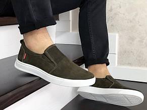 Стильные мужские кожаные мокасины (туфли) Levis,темно зеленые, фото 3