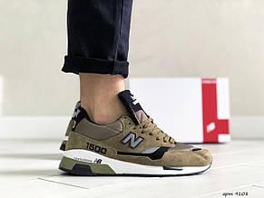Замшевые мужские кроссовки (в стиле) New Balance 1500,темно зеленые, фото 2