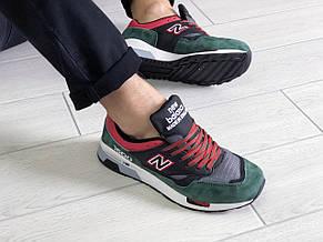 Замшевые мужские кроссовки (в стиле) New Balance 1500,черные с зеленым, фото 2