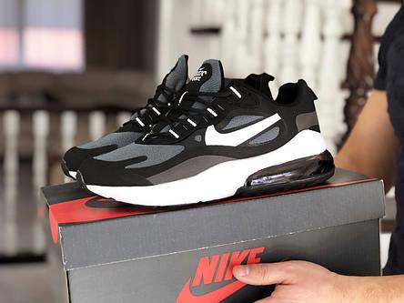 Модные кроссовки (в стиле) Nike Air Max 270 React,серые с черным/белым, фото 2