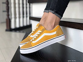 Женские кеды (в стиле) Vans,замшевые,желтые, фото 2