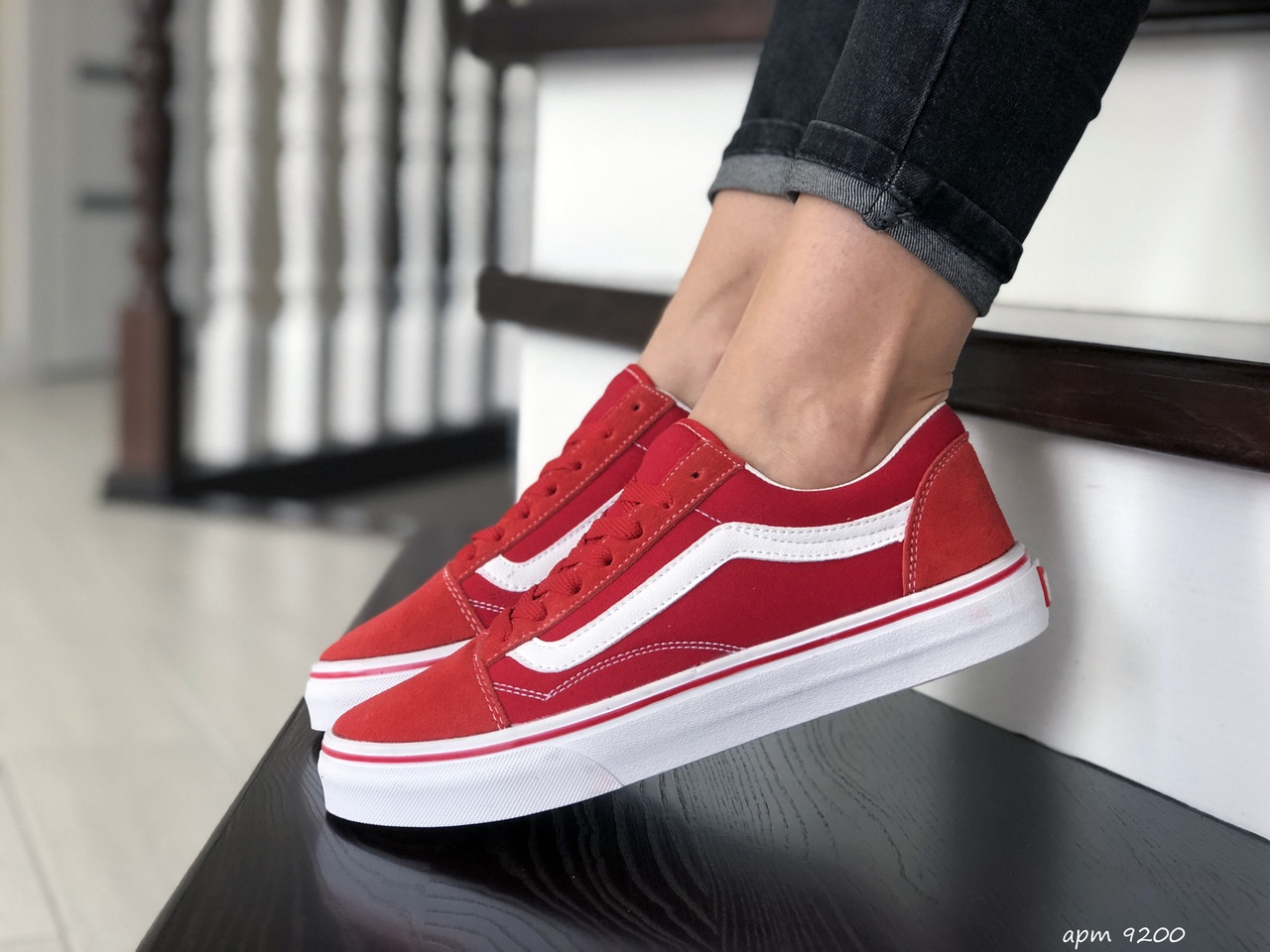 Женские кеды (в стиле) Vans,замшевые, красные