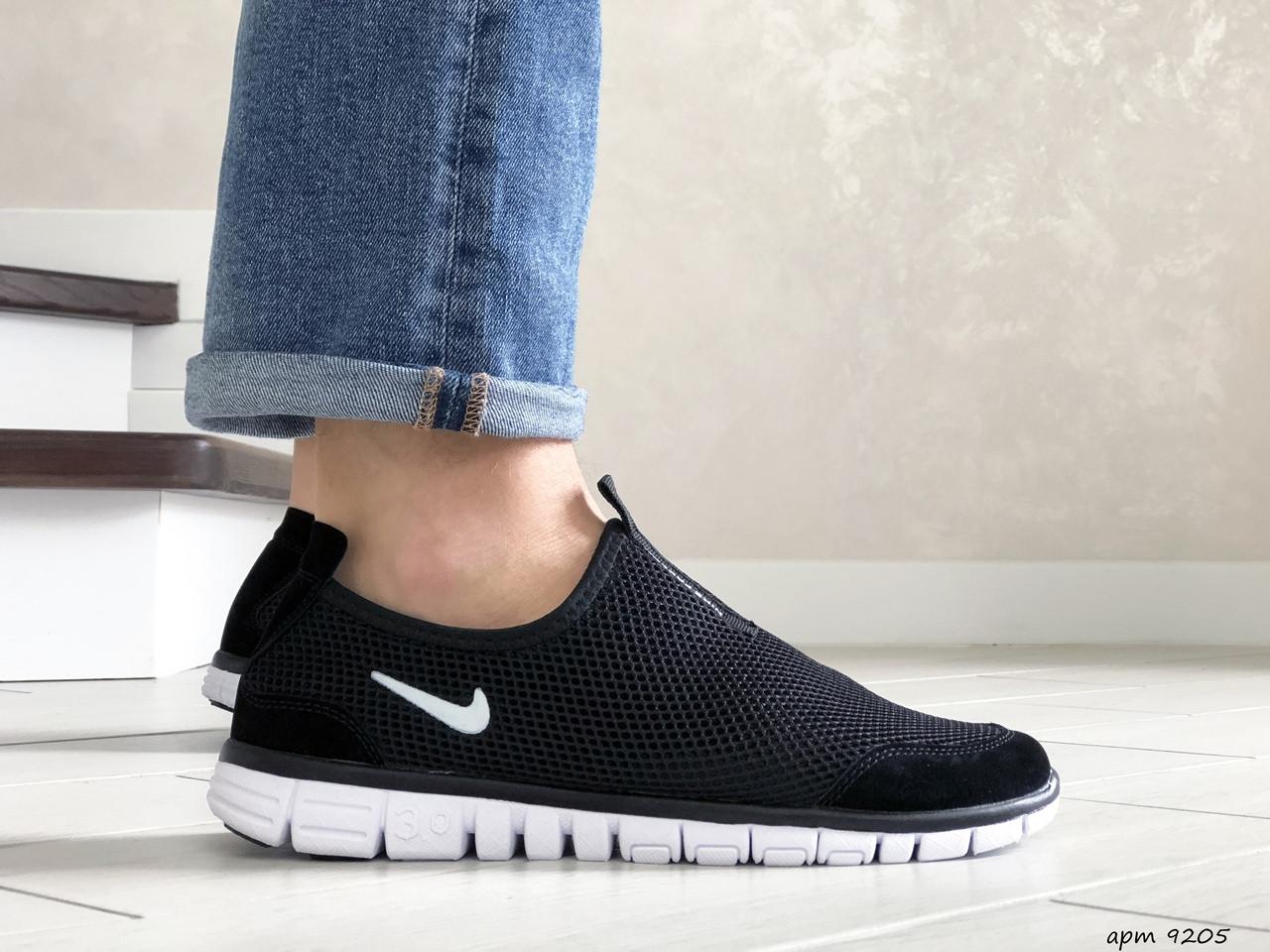 Летние кроссовки (в стиле) Nike Free Run 3.0,сетка,черно белые