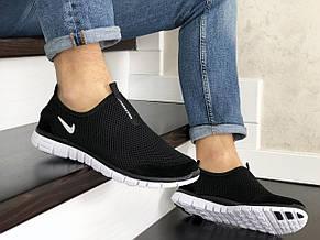 Летние кроссовки (в стиле) Nike Free Run 3.0,сетка,черно белые, фото 2