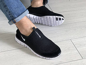 Летние кроссовки (в стиле) Nike Free Run 3.0,сетка,черно белые, фото 3