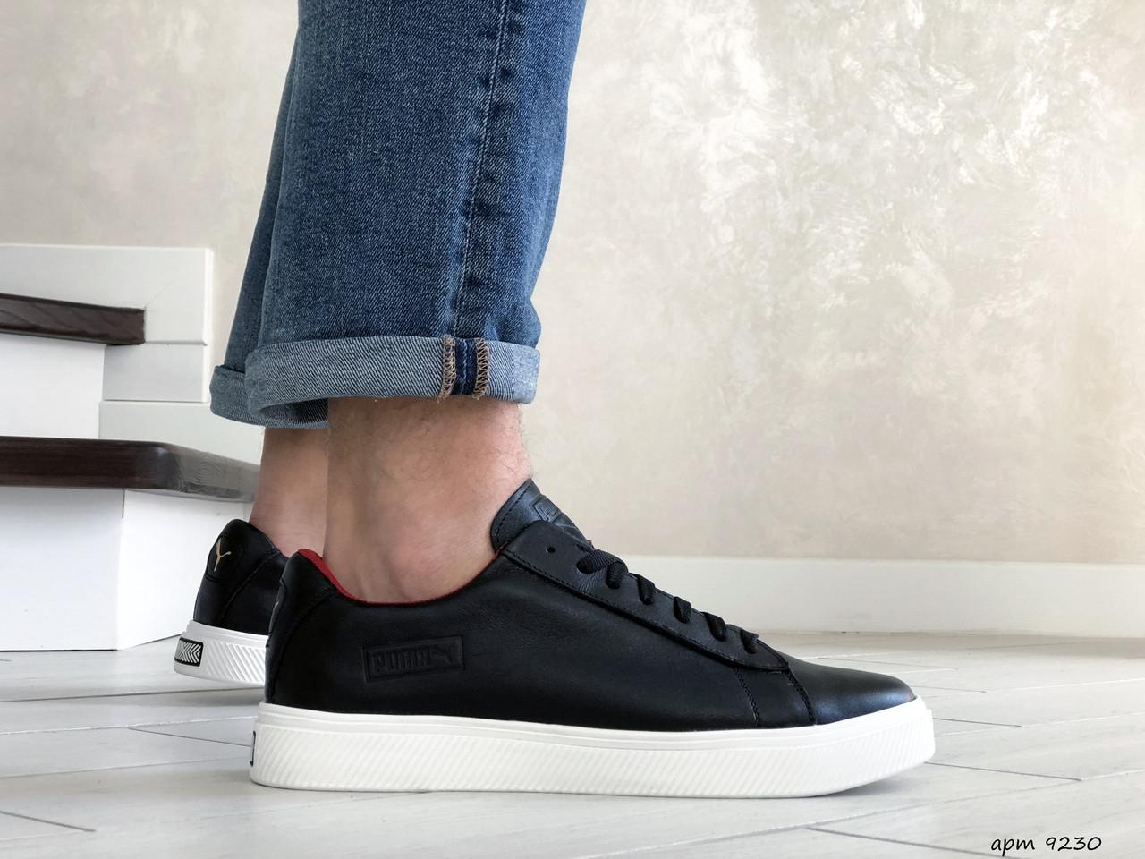 Кожаные кроссовки (в стиле) Puma   ,темно синие