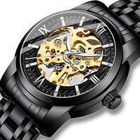 Часы механические мужские Megalith Черные с золотым