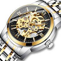 Часы механические мужские Megalith Серебристые с золотым