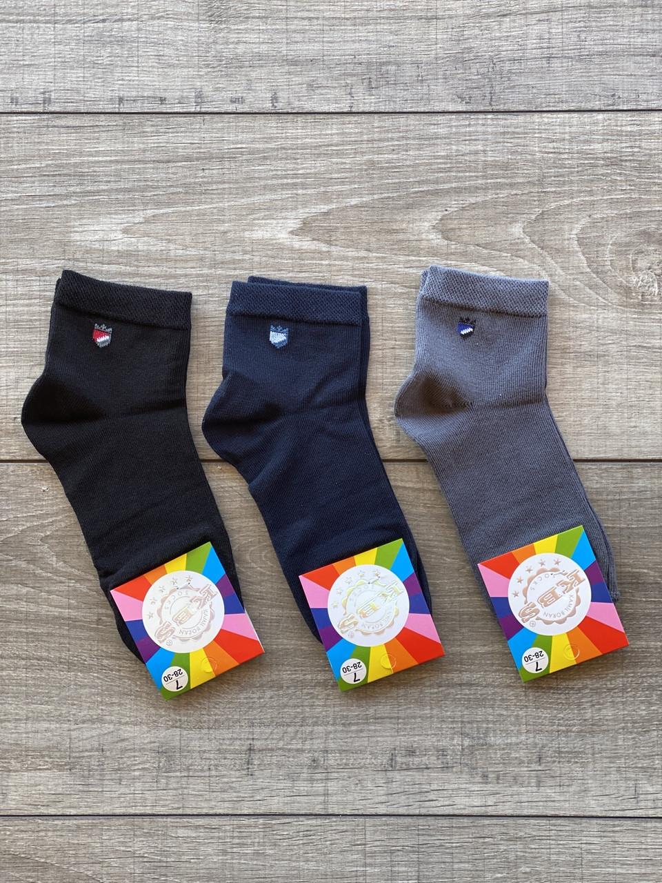 Дитячі підліткові шкарпетки бавовна KBS для хлопчиків 7-8,9-10,11-12 років 12 шт в уп мікс 3 кольорів
