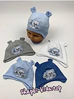 Трикотажная шапка на завязках с мишками Размер 36-38 см на новорожденных, фото 2