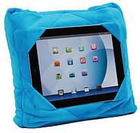 Подушка для подорожей 3в1 GoGo Pillow № B48 розмір 28х28см, мікрофібра, блакитна, подушка для планшета