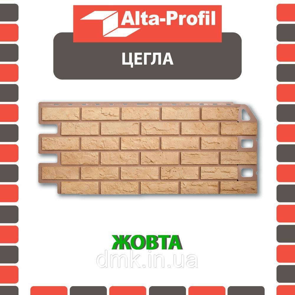 Фасадная панель Альта-Профиль Кирпич 1130х470х20 мм Желтый