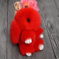 Брелок на ключі - рюкзак Blackberry Кролики з хутром, 18 см, різні кольори, хутряні кролики брелоки, хутряні зайчики брелоки, пампон