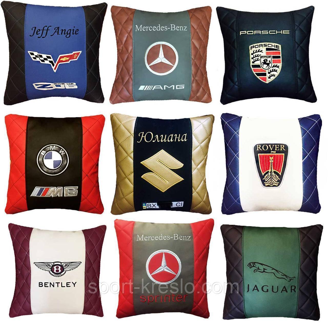 Подушка с логотипом в салон авто, госномером, подголовники автомобильные, автоаксессуары
