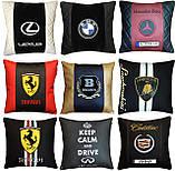 Подушка с логотипом в салон авто, госномером, подголовники автомобильные, автоаксессуары, фото 10