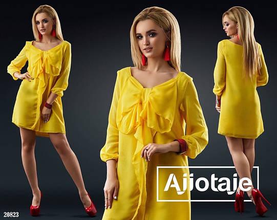 Нарядное шифоновое платье свободного кроя с бантом впереди,7цветов. Р-р.42,44,46  Код 215Д, фото 2