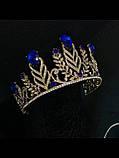 Висока Діадема з синіми кристалами з основою золотого кольору (7,5 см), фото 4