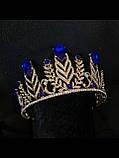 Висока Діадема з синіми кристалами з основою золотого кольору (7,5 см), фото 3