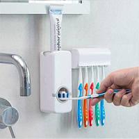 Дозатор зубної пасти з підставкою для щіток Olive для 5 щіток, білий, стакан для зубної щітки, тримач для для зубних щіток
