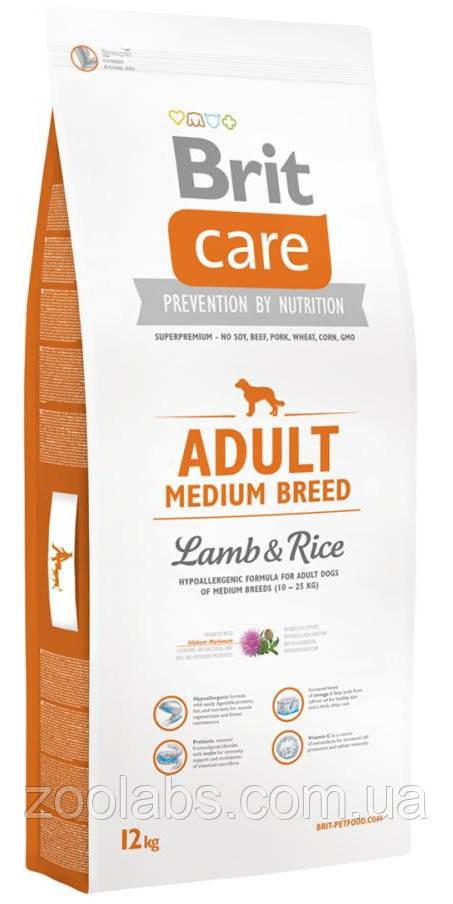 Корм Brit Care для собак средних пород   Brit Care Adult Medium Breed Lamp & Rice 12,0 кг