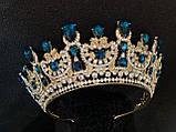 Розкішна корона півколом з блакитно-бірюзовими камінням (7,4 см), фото 7