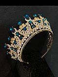 Розкішна корона півколом з блакитно-бірюзовими камінням (7,4 см), фото 5