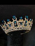 Розкішна корона півколом з блакитно-бірюзовими камінням (7,4 см), фото 4