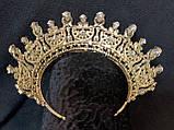 Розкішна корона півколом з блакитно-бірюзовими камінням (7,4 см), фото 8