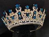 Розкішна корона півколом з блакитно-бірюзовими камінням (7,4 см), фото 6