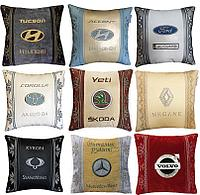 Подголовники подушки с логотипом авто, аксессуары в салон авто, автомобильные аксессуары