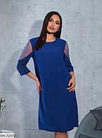 Легкое свободное платье с вставками из сетки размеры 46-60 арт 7165