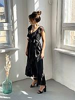 Чёрный женский сарафан батистовый с баской