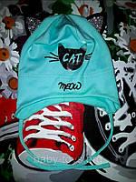 """Шапка детская для девочек  """"Cat"""" Раз.: 42-44 см"""