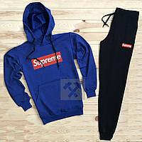 Спортивный мужской костюм Supreme (Супрем), синий верх, черные штаны, код OW-2052