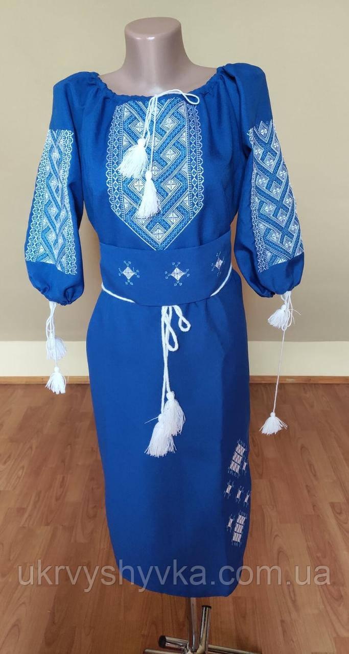 """Плаття вишиване """"Безкінечність"""" синє"""