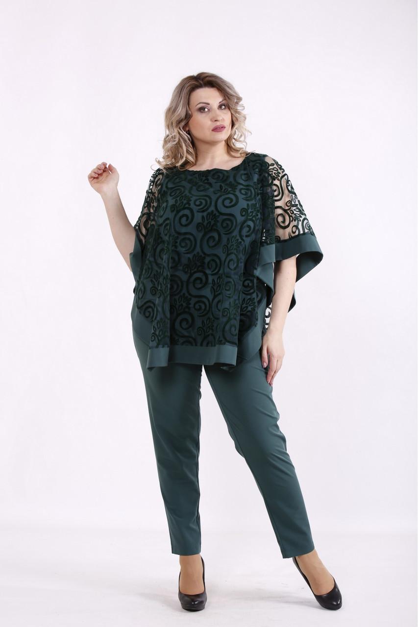 01451-2   Зеленый костюм: брюки и накидка женский большого размера